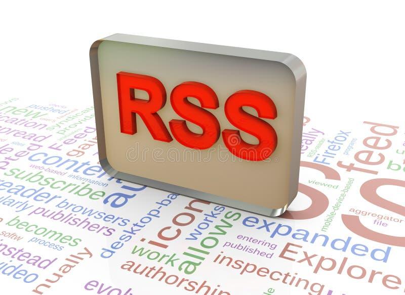 3d RSS no fundo do wordcloud dos rss ilustração royalty free
