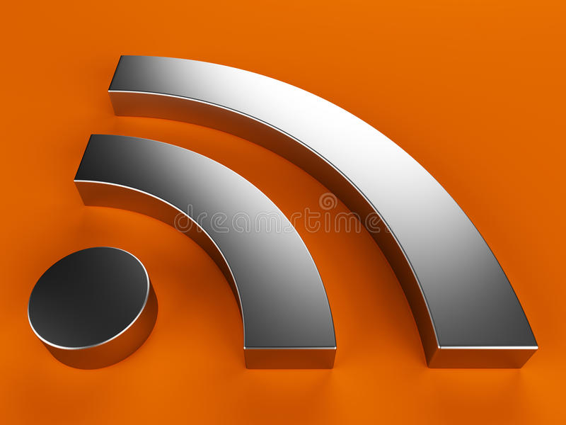 3D RSS symbol stock illustration