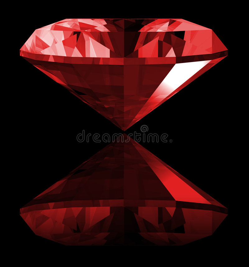 3d Ruby Gem Isolated. A 3d illustration of a ruby gem isolated on a black background stock illustration
