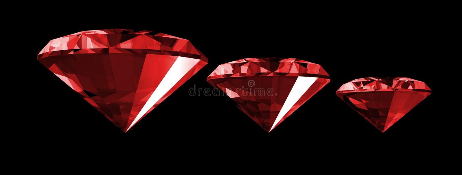 3d Ruby Gem Isolated. A 3d illustration of a ruby gem isolated on a black background vector illustration