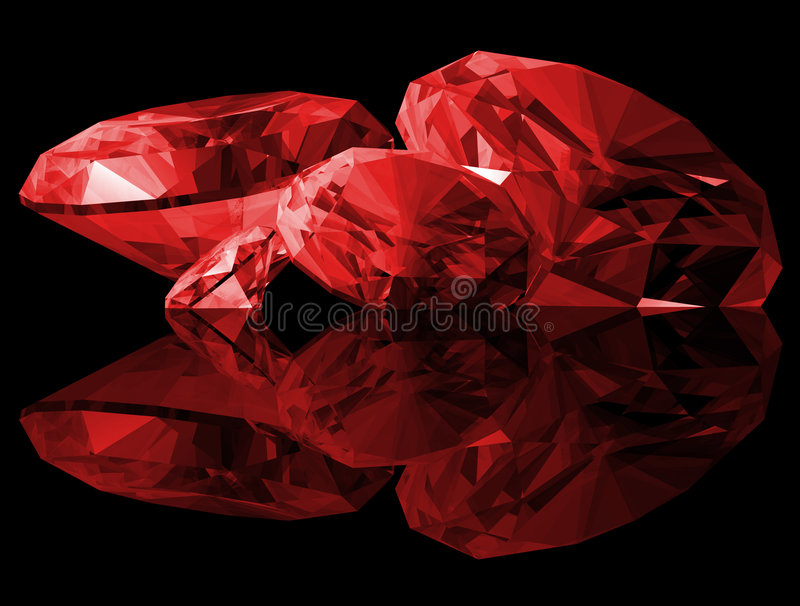 3d Ruby Gems Isolated. A 3d illustration of Ruby gems isolated on a black background vector illustration