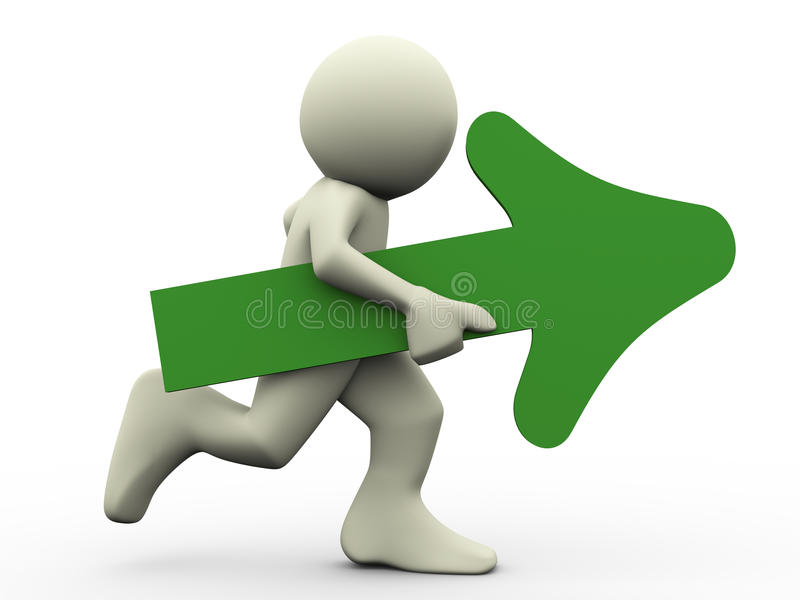 3d running man with arrow. 3d render of running man holding green arrow in his hand. 3d illustration of human character stock illustration