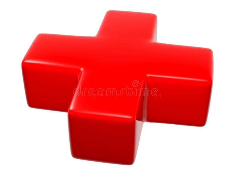3D símbolo - cruz (vermelha) ilustração do vetor