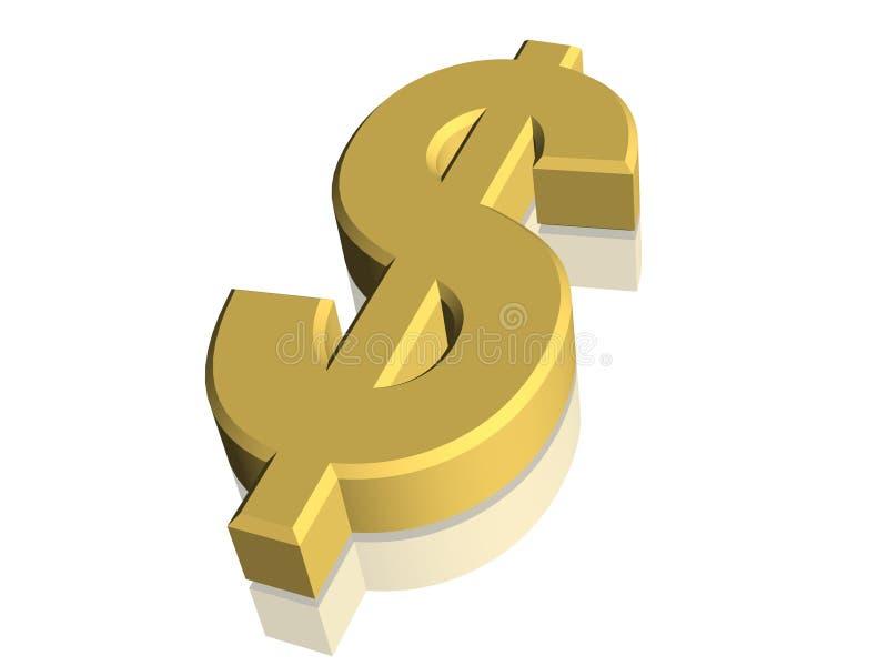 3D símbolo - dinero en circulación de la muestra de dólar libre illustration