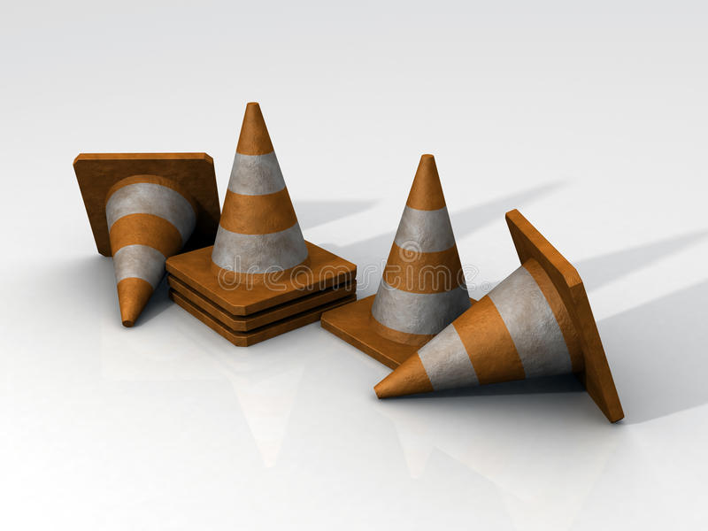 3D Safety Cones stock photo