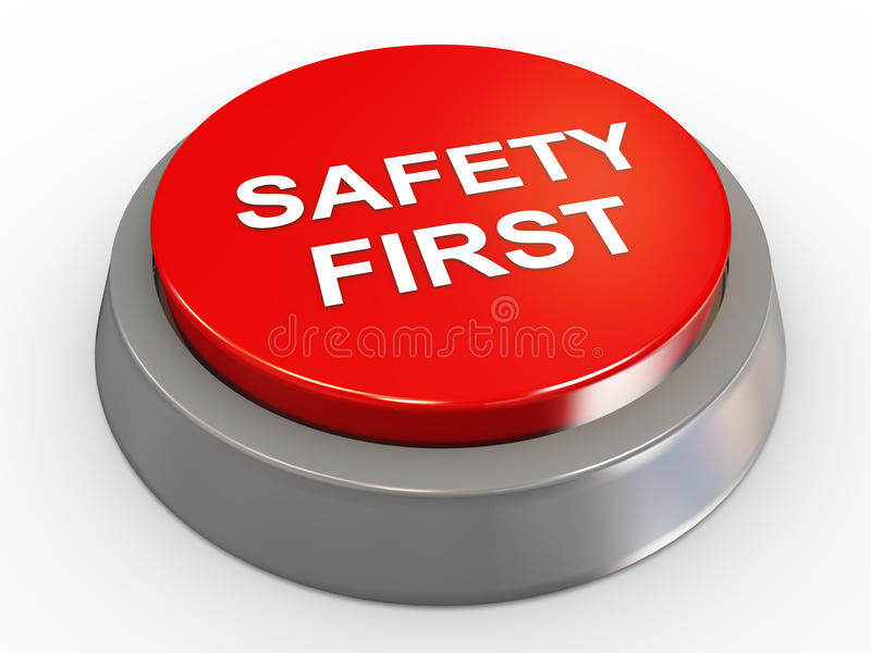 3d safety first button vector illustration