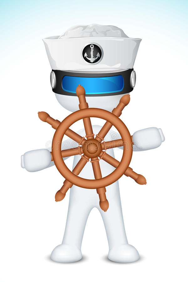 3d Sailor with Steering Wheel