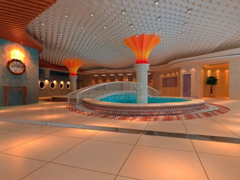 3d salão moderno, banheiro ilustração royalty free