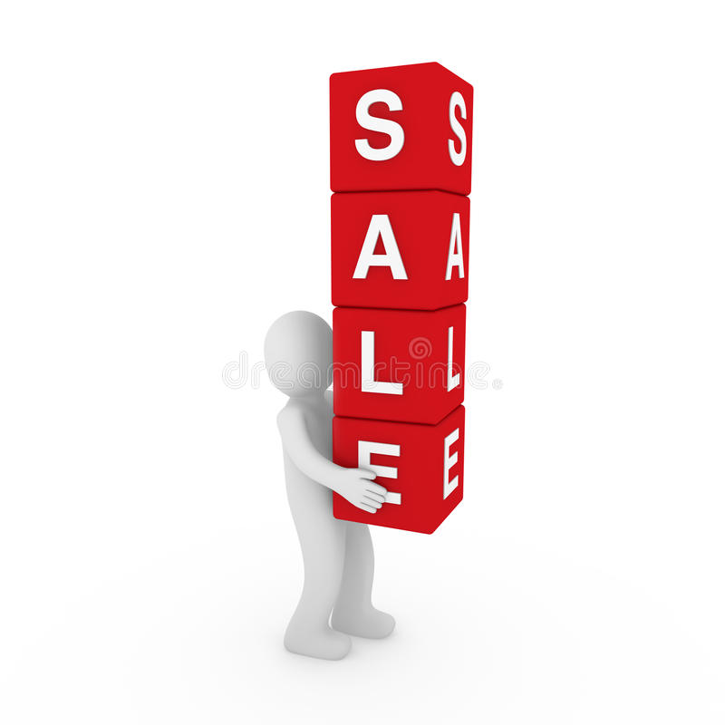 3d sale cube human vector illustration