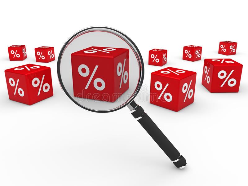 Download 3d Sale Cube Red Magnifying Lens Stock Illustration - Image: 20901202
