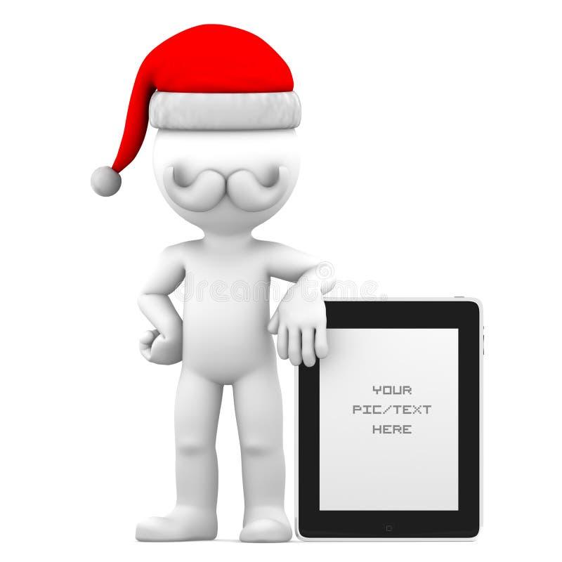 3d Santa et tablette de fixation illustration libre de droits