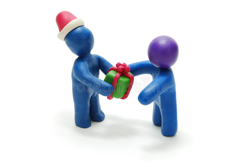 Download 3D Santa Giving Gift To Person Stock Image - Image: 12103231