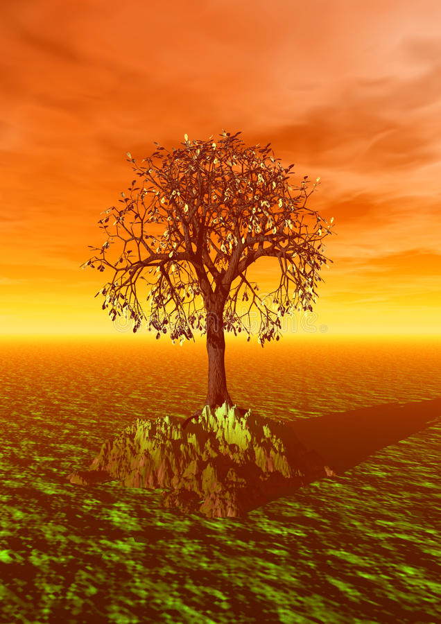 3d scene with fall tree royalty free stock photo