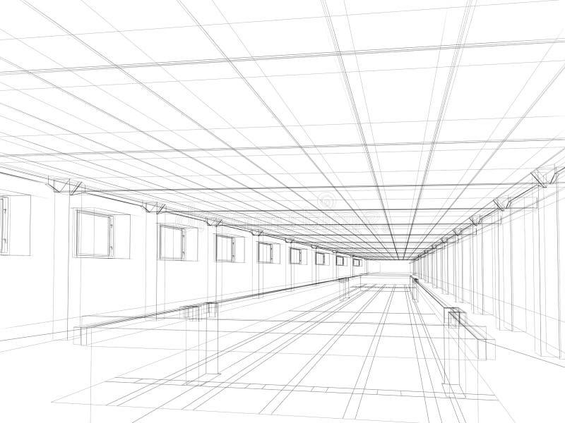 3d schets van een binnenland van een openbaar gebouw stock for 3d schets maken