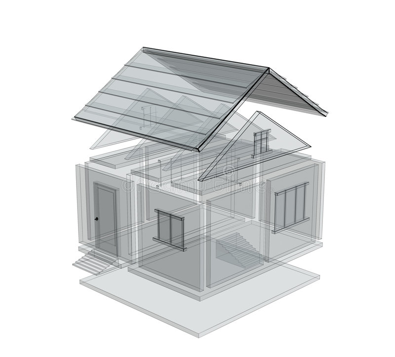 3d schets van een huis royalty-vrije illustratie