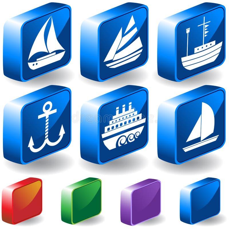 3d se boutonne nautique illustration libre de droits