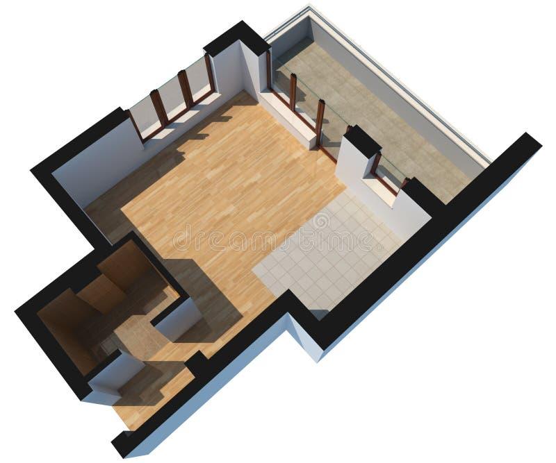 3D secionados esvaziam o apartamento com trajeto de grampeamento ilustração do vetor