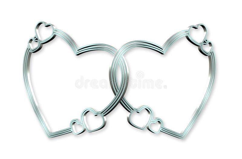 3d serca łączący srebro ilustracji