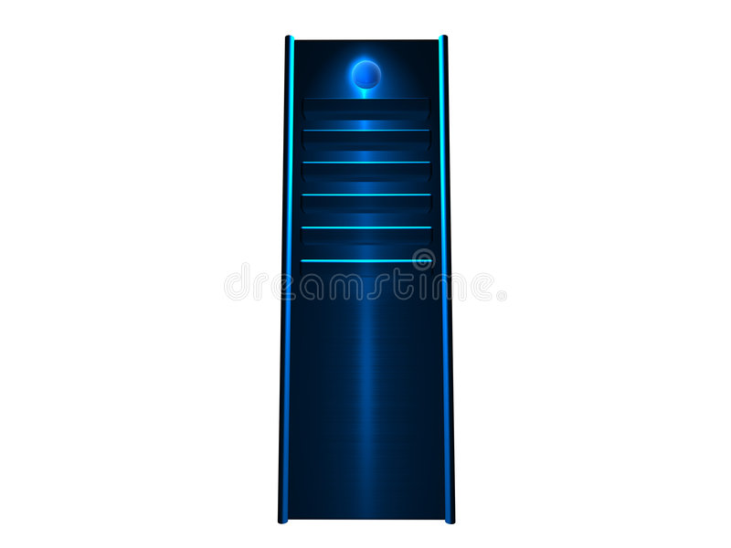 3D Server - Blue glowing vector illustration