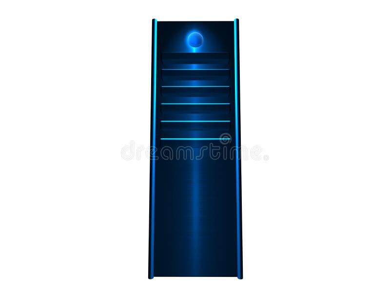 3D servidor - el brillar intensamente azul ilustración del vector