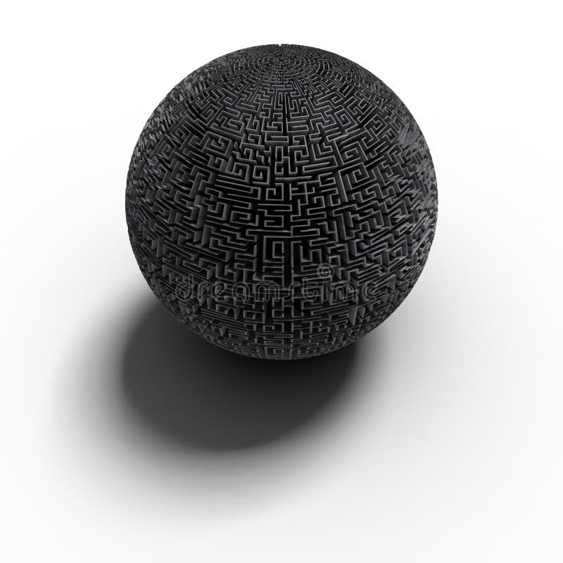 3D sferisch labyrint - boete royalty-vrije illustratie
