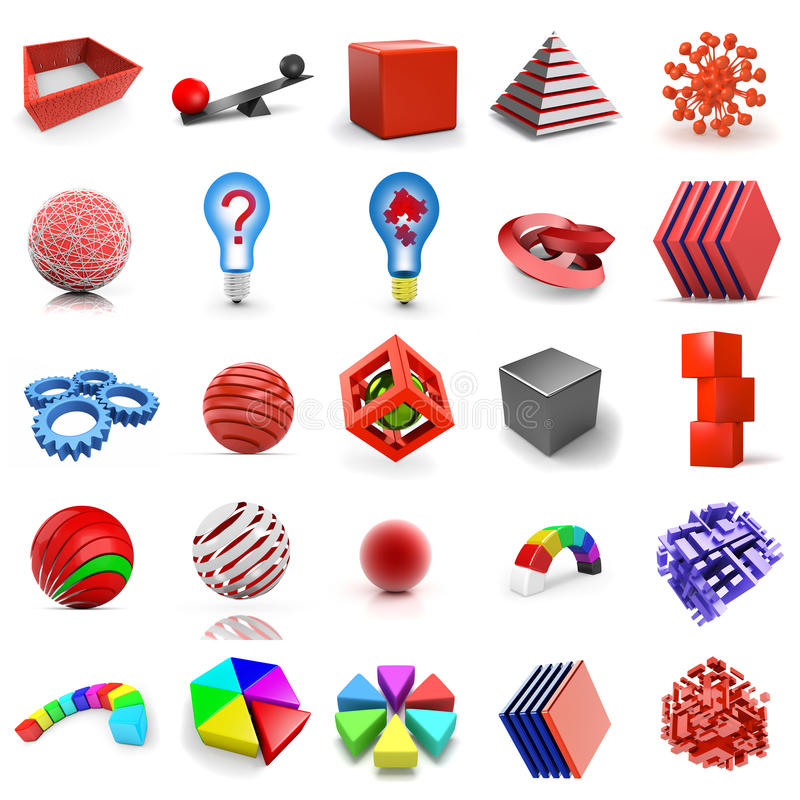 3d shapes. Set of abstract 3d shapes vector illustration