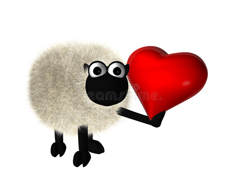 Download 3d sheep with a red heart stock illustration. Image of clipart - 17781750