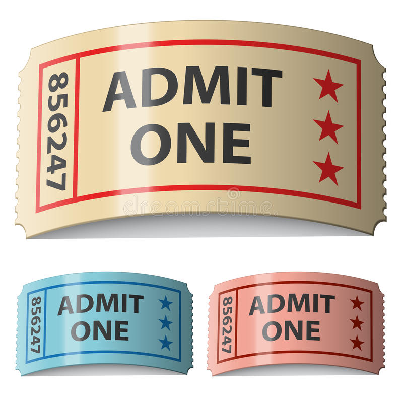 3d shiny curled tickets stock illustration
