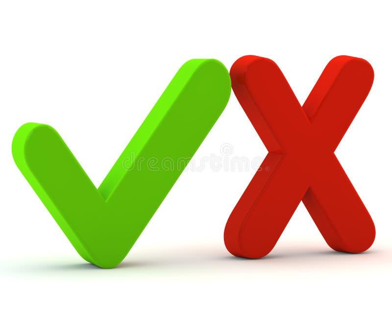 3d si inverdicono sì il segno di spunta ed il no. di colore rosso immagine stock libera da diritti