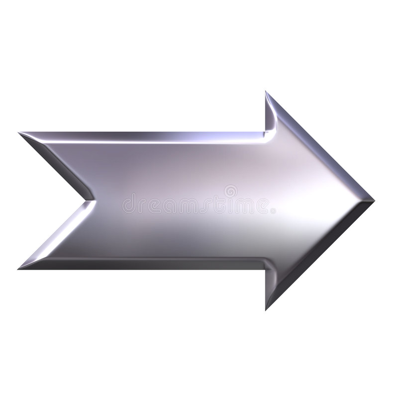 3D Silver Arrow stock illustration