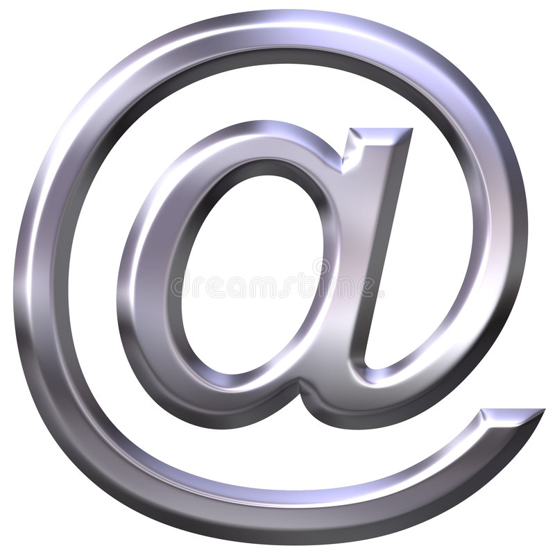 3D Silver Email Symbol royalty free illustration
