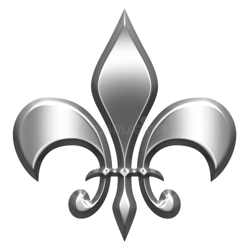 3D Silver Fleur de Lis illustrazione di stock