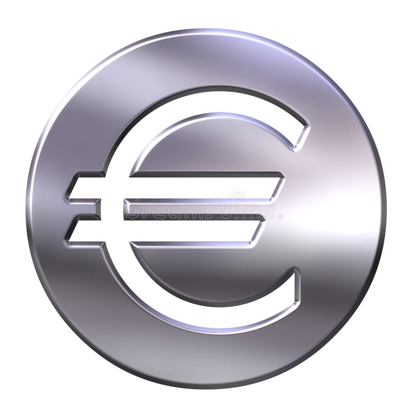 Free 3D Silver Framed Euro Currency Sign Stock Photography - 3948562