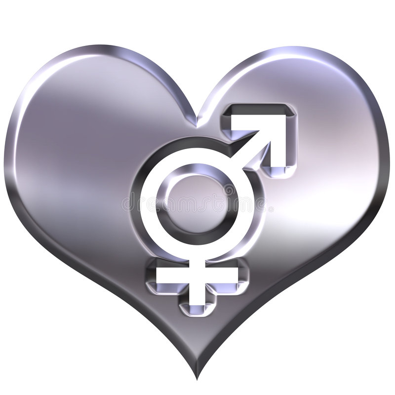 3d silver heart with combined gender signs royalty free illustration
