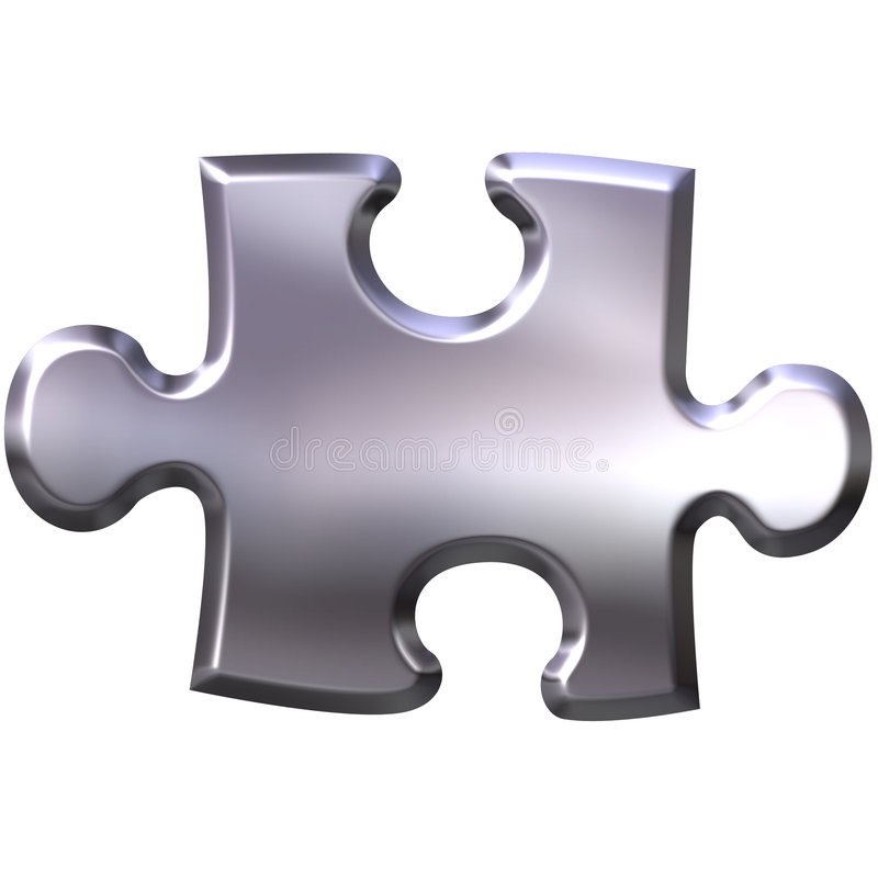 3D Silver Puzzle Piece royalty free illustration