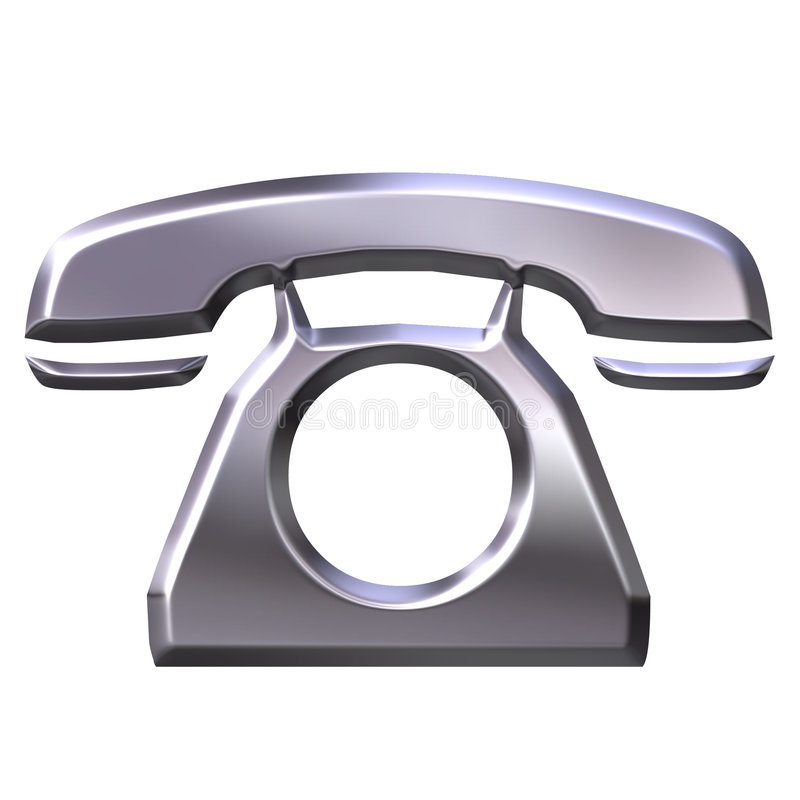 3D Silver Telephone royalty free illustration