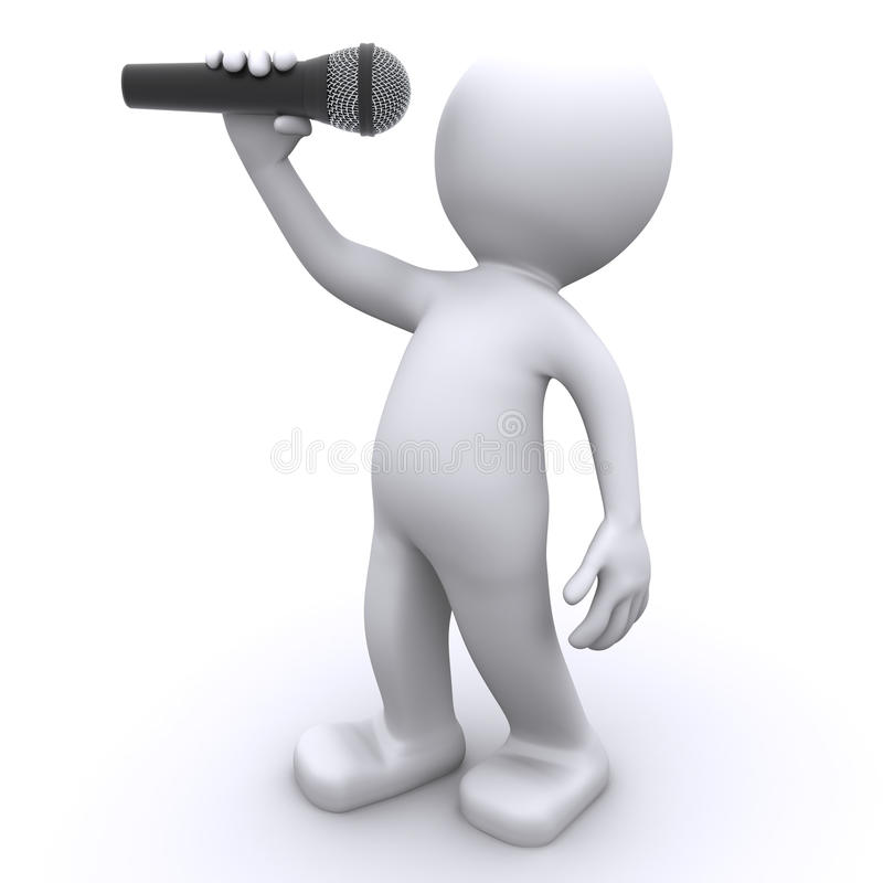 3d singer with microphone. Isolated vector illustration