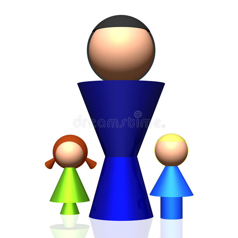 3D Single-parent Family Icon. 3D rendered icon of stylized single-parent family with children vector illustration