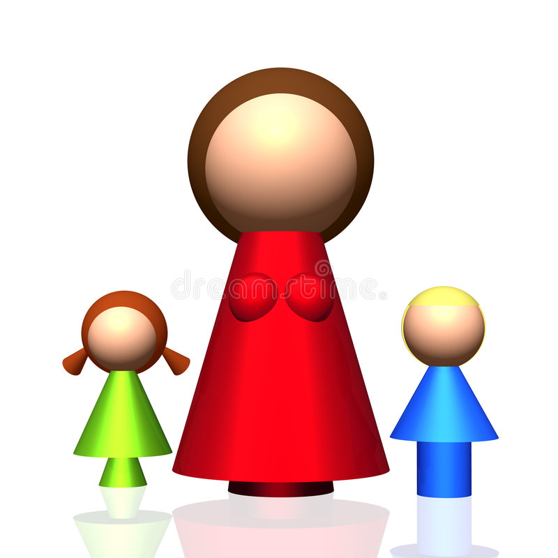 3D Single-parent Family Icon. 3D rendered icon of stylized single-parent family with children royalty free illustration