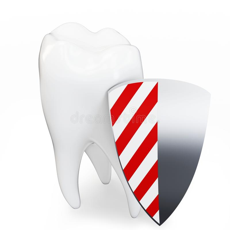 3d Single Tooth With Shield Royalty Free Stock Images