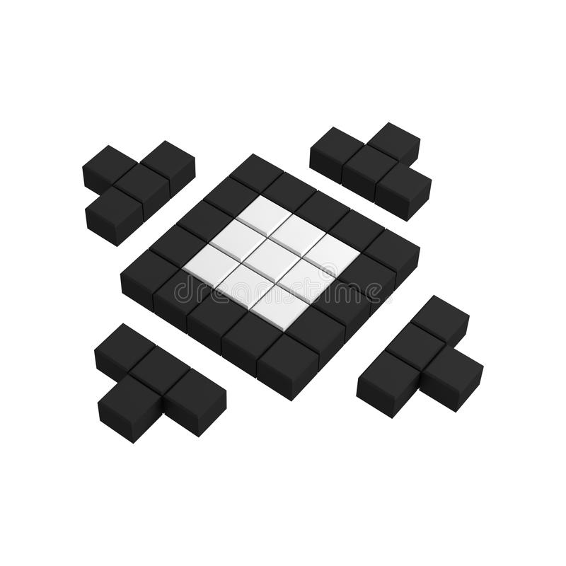 3d site map pixel icon. Black and white illustration vector illustration