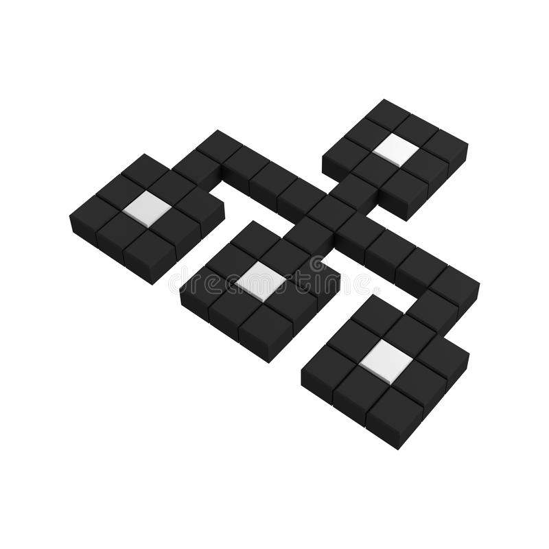 3d site map pixel icon. Black and white illustration stock illustration
