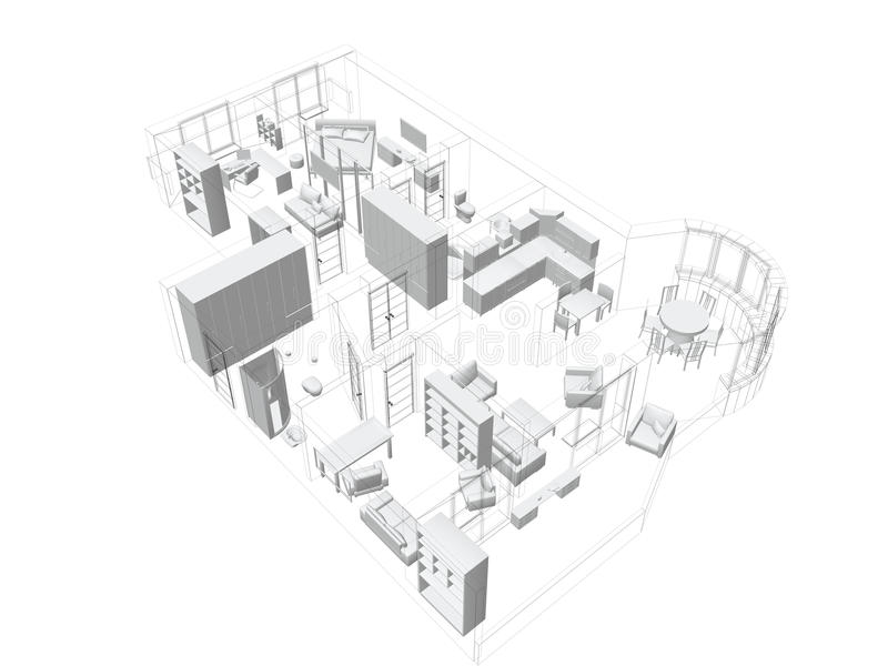 Download 3d Sketch Of A Four-room Apartment Stock Illustration - Image: 12820061