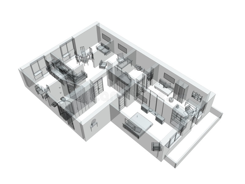 3d sketch of a four-room apartment stock illustration