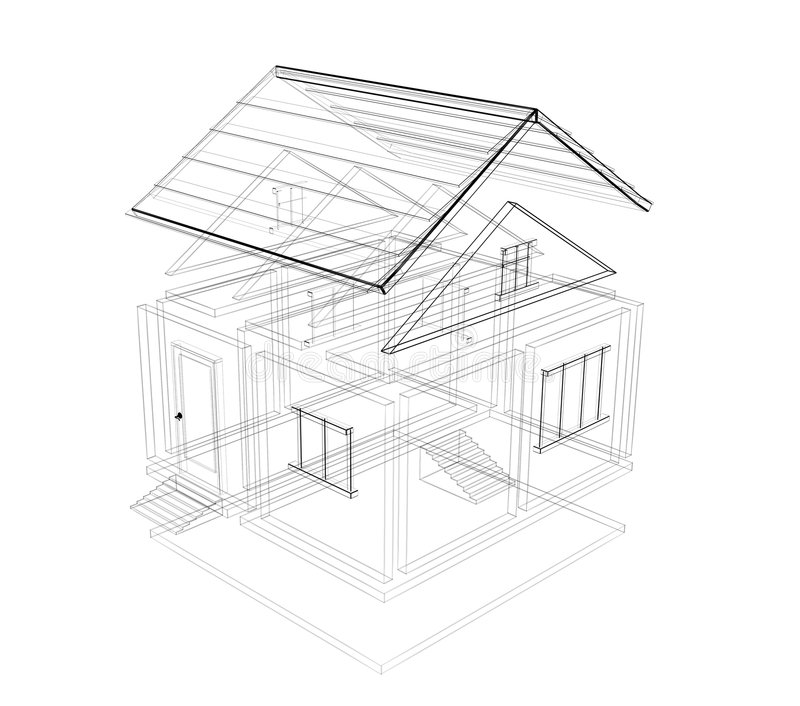 3d Sketch Of A House Stock Image