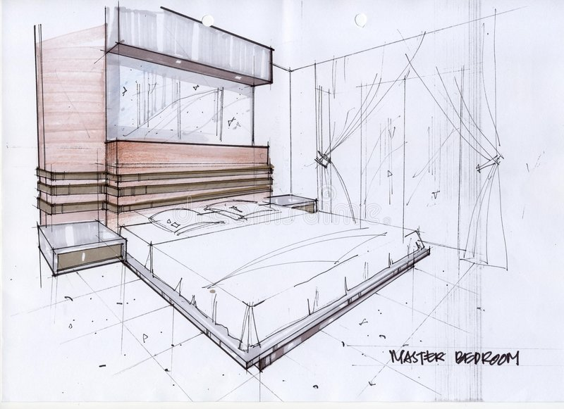3d Sketch Illustration For A Master Bedroom Stock