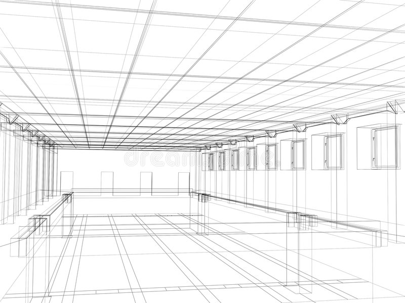 3d sketch of an interior public building royalty free illustration