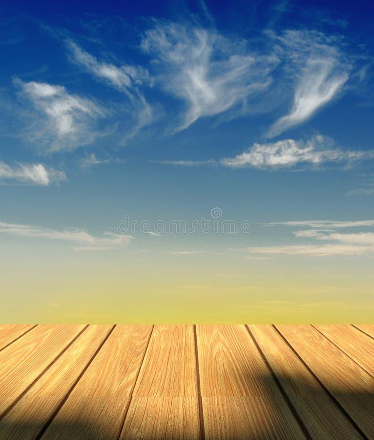 3d Sky Background And Wood Floor Stock Illustration Illustration