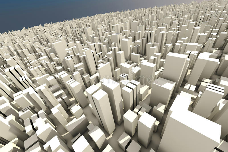 Download 3d Skyline Of A Crowd City - Aerial View Stock Illustration - Image: 17007266