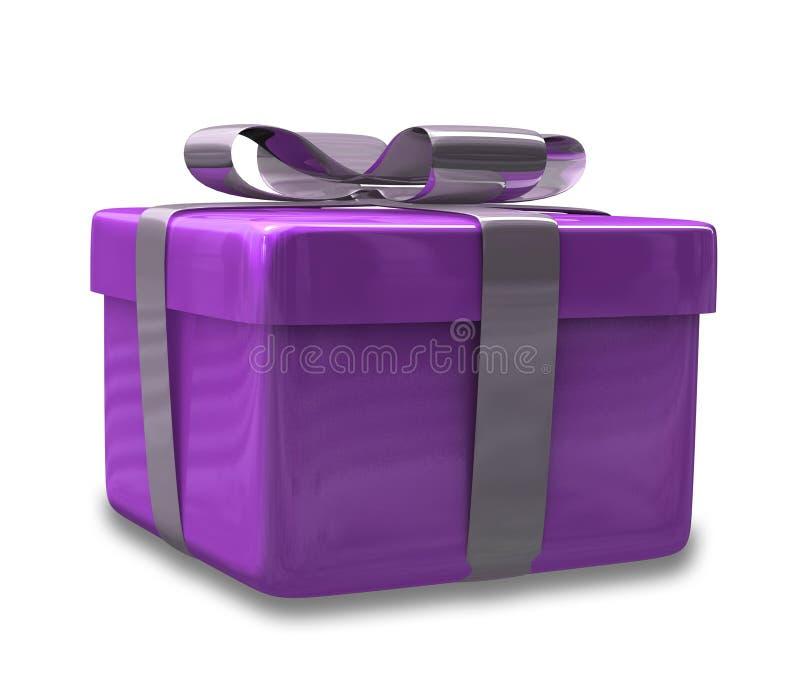 3d slågen in gåva purpur v3 vektor illustrationer